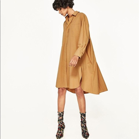 7be13c95c353 NWT Zara Camel Oversized Swing Shirt Dress